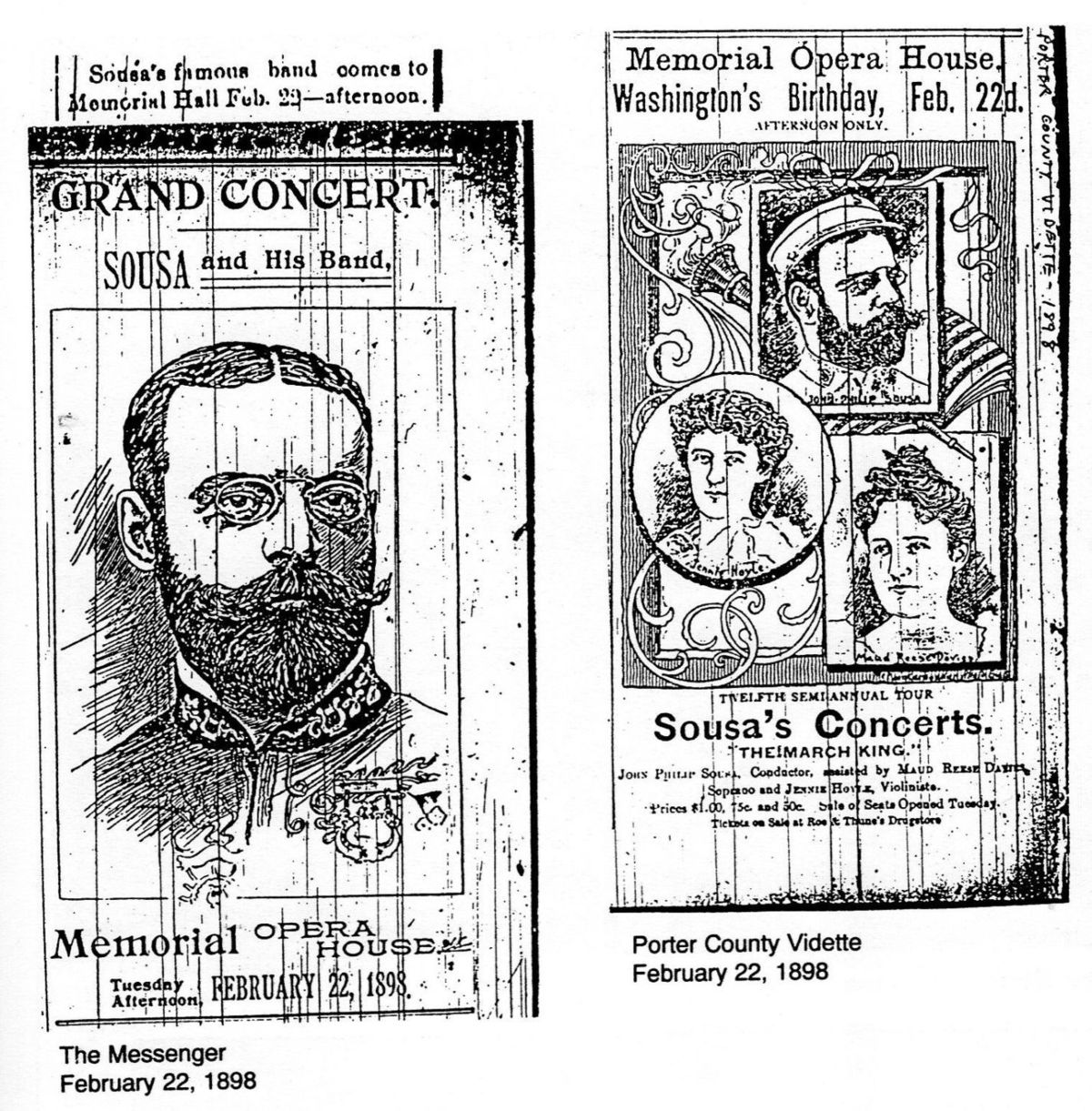 Newspaper Ads from 1898 Advertising John Phillip Sousa Performances At Memorial Opera House
