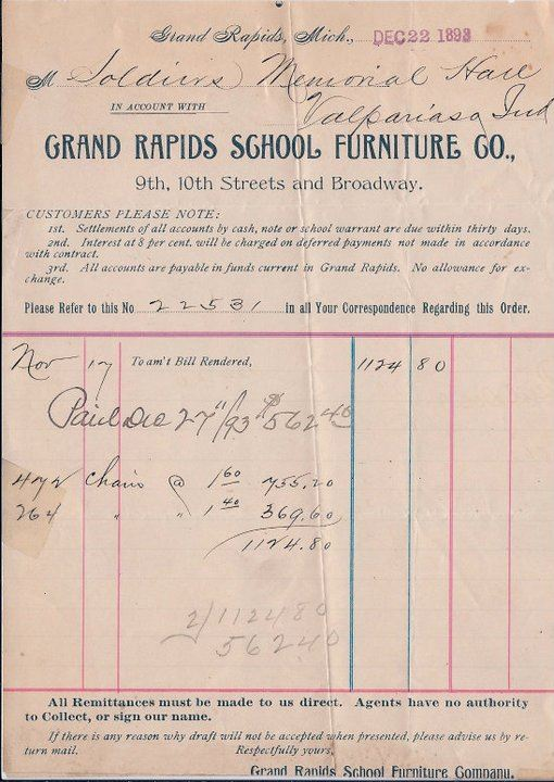 Original invoice for the auditorium chairs for Memorial Hall. December 22, 1893.